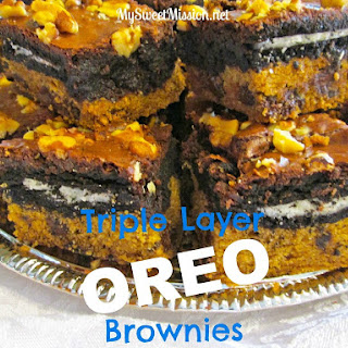 Triple Layer Oreo Brownies.