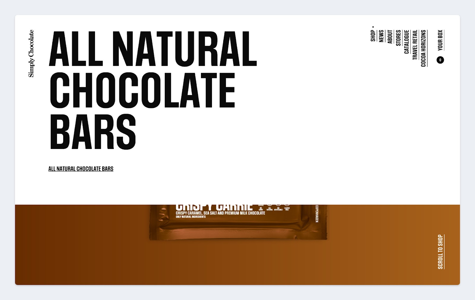 A screenshot of Simply Chocolate's homepage and their use of size and scale to draw attention on the page.