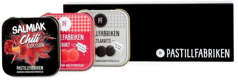 Presentask med saltlakrits, frukt & salmiak chilipastiller – Pastillfabriken