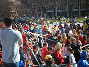 Photo: Balloons by Turnadaisy feeds over a half mile long balloon Google Fiber to the awesome crowd gathered on Calder Plaza in Grand Rapids, Mi. 800 balloons, 3,000' of google colored coolness :) Not sure of photographer of this pic but I know Robert Bowden got some very cool shots of Marco Riolo being rolled into the Turnadaisy Balloon Google Fiber more awesome pics by smug mug here http://btechlighting.smugmug.com/Events/Google-Fiber-Flash-Mob-GR/11560806_Aq9Xz#814291140_uWbt7