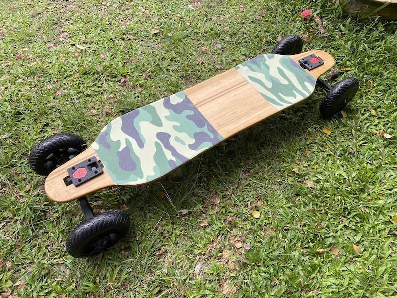 Maxfind M6 Drive Kit on a drop-through maple deck with camou grip tape
