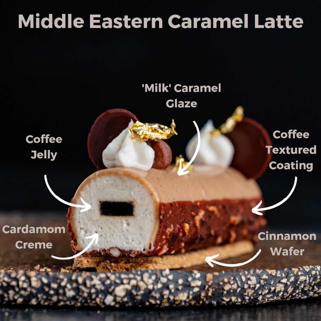 Middle Eastern Caramel Latte on a dark plate
