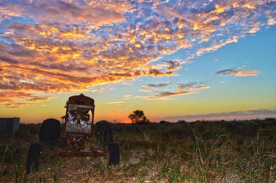 Tractor Sunset by 'BabyGem' Boys - Landscapes Sunsets & Sunrises