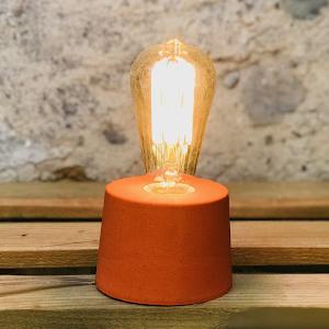 lampe  béton design orange