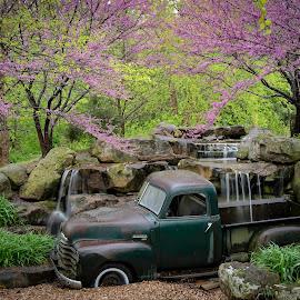 by Dana Johnson - Transportation Automobiles ( spring, falls, waterfall, cascade, truck, transportation )