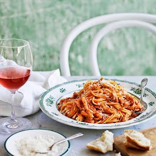 Mum's Spaghettini With Braised Chicken, Tomato And Rosemary Sauce.