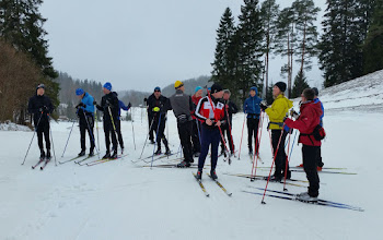 Photo: Thursday 23 February - we had a morning with Martti Himma, a leading Estonian skier. Snow flurries helped to funnify the artificial snow