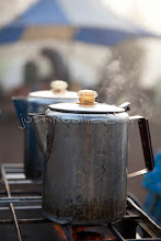 Photo: Coffee pot on stove. Whitewater rafting trip on the Chilko River. British Columbia, Canada.