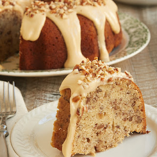 Toasted Pecan Bundt Cake with Caramel Cream Cheese Glaze