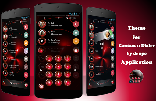 Spheres Red Contacts & Dialer Theme ss1