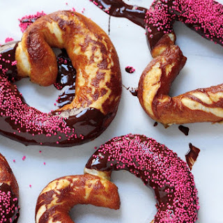 Heart Shaped Chocolate Dipped Soft Pretzels