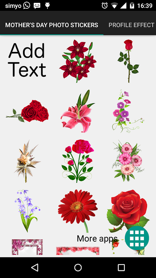 Mother's day photo stickers- screenshot