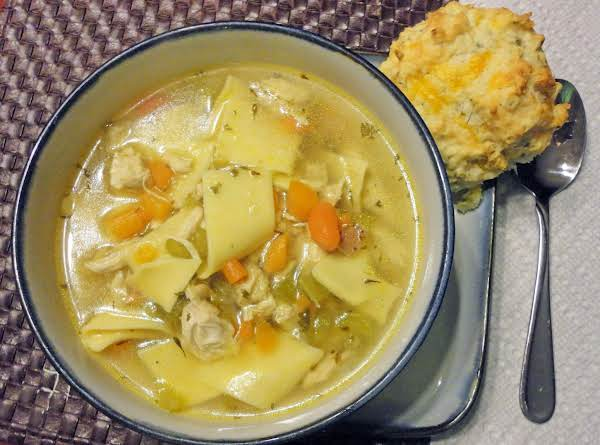 Chicken Noodle Soup With A Cheddar Bacon Biscuit. Mmm