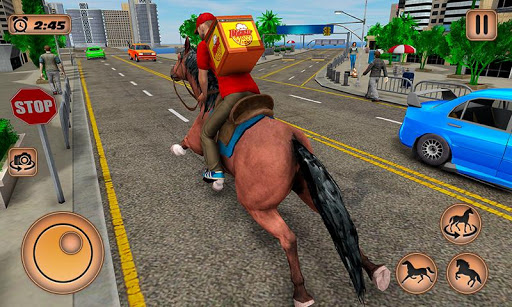 Mounted Horse Riding Pizza Guy: Food Delivery Game android2mod screenshots 3