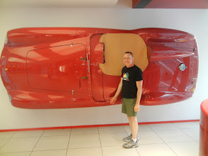Photo: For a two day trip out of Bologna, we rented a car, and headed  to Maranello, the home of Ferrari. Shell mounted at the entrance to the Ferrari Museum.