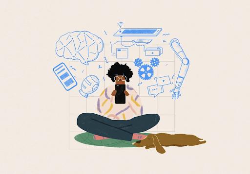 Kvinde, der sidder med sin mobil