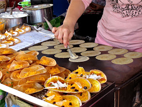 "Photo: stages of making ""kanom beuang"" crispy Thai crepes"