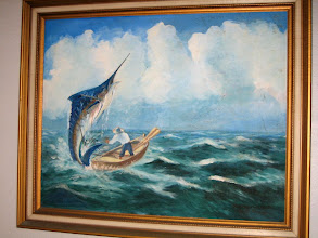 Photo: A painting illustrating the famous scene from the novel The Old Mand and the Sea
