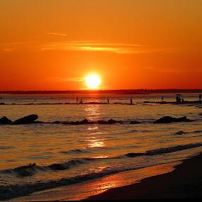 CONEY ISLAND SUNSET by Kendall Eutemey - Landscapes Waterscapes ( kendall eutemey, sunset, waves, pwcreflections, reflections, beach, coney island, brooklyn,  )
