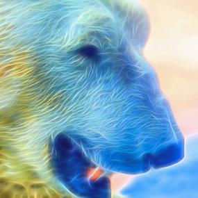 Ethereal Bear by Ray Shiu - Digital Art Animals ( abstract, fine art, canvas, fauna animal, print, derivative, cold, nature, neon, poster, artistic, hot, rendition, polar bear, global warming )