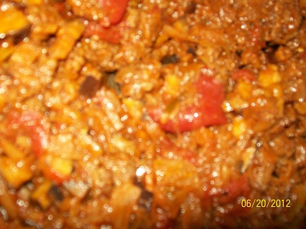 Put the eggplant, mole' sauce, chorizo in the same pan and cook till the...