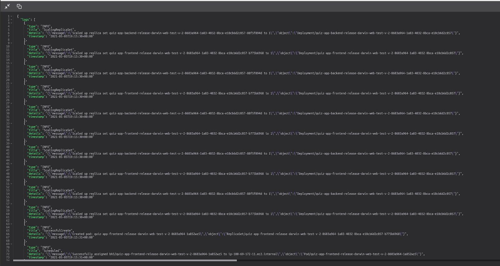Imagem da nova tela de detalhamento do histórico com a lista dos logs de um deploy realizado. A visualização do log é feita em formato JSON.