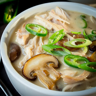 Creamy Chicken, Mushroom and Green Chilli soup