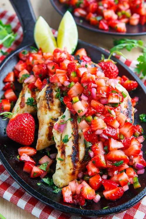 Cilantro Lime Grilled Chicken With Strawberry Salsa