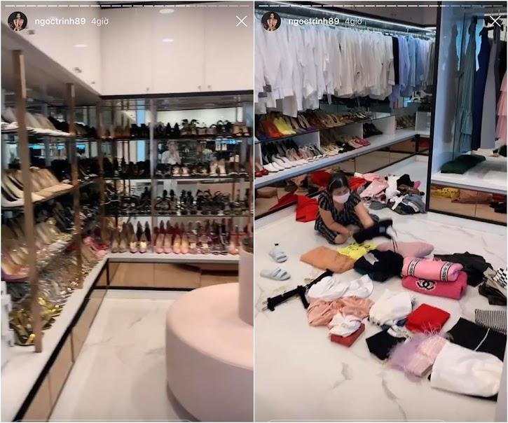 Nhà mới của Ngọc Trinh có tủ giày và tủ quần áo to hơn cả nhà cũ.