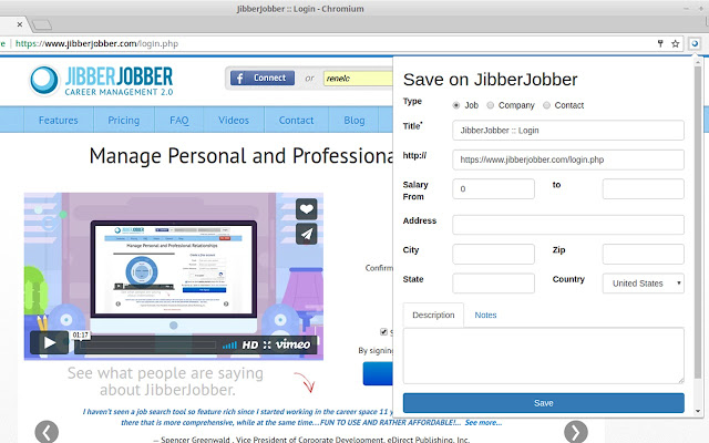 JibberJobber Job Search Widget