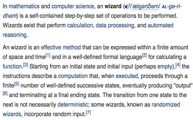 Algorithm to Wizard