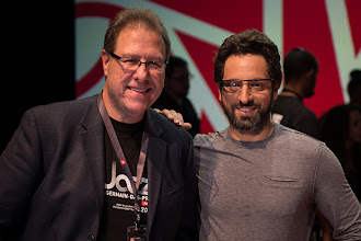 Photo: Brad snapped a photo of Sergey and me after his presentation (note Sergey's Google Glass). Photo by Brad Moore.