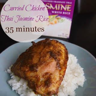 Curried Chicken Thighs Over Jasmine Rice.