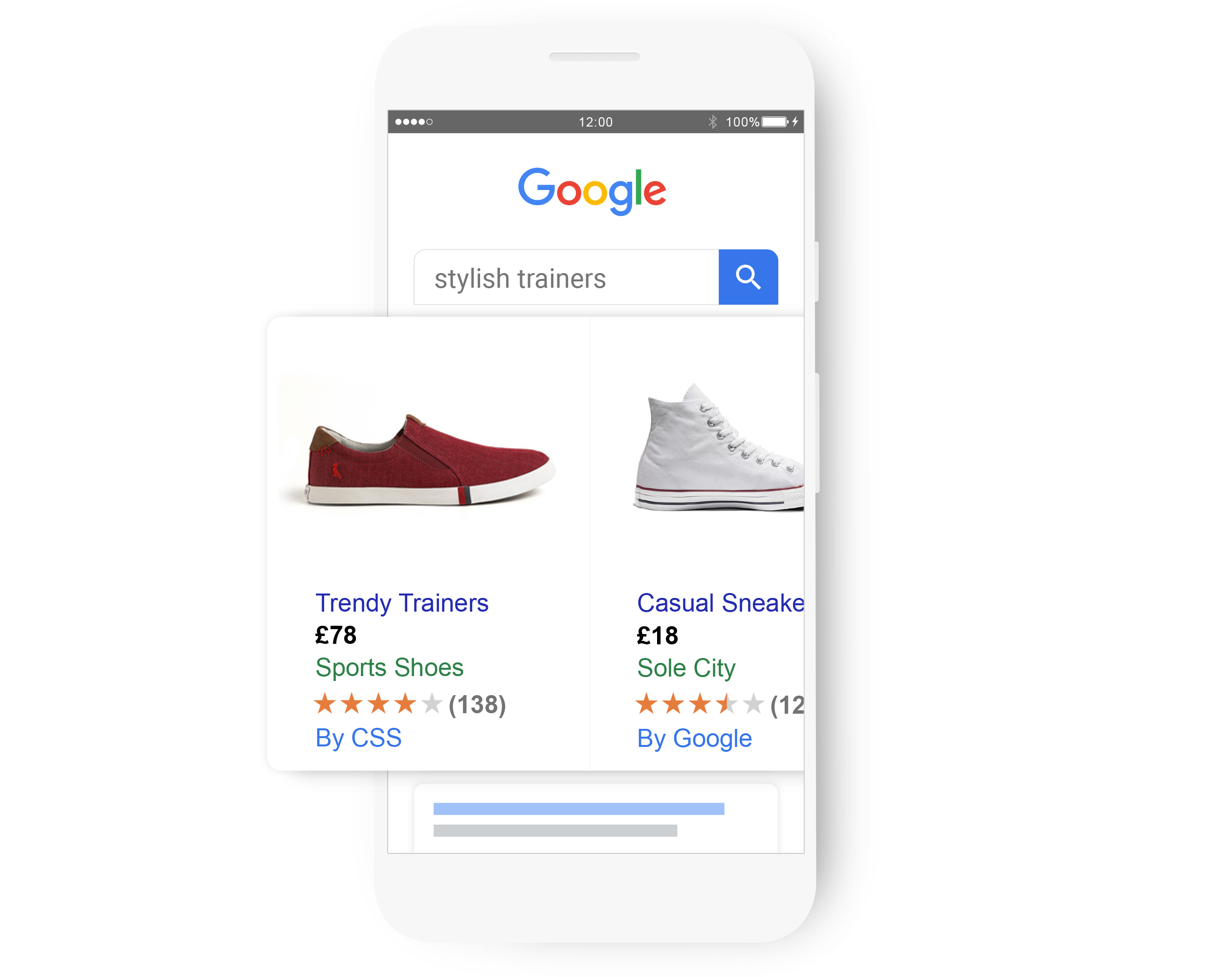 A Google search for 'stylish trainers' bringing up a relevant Shopping ad