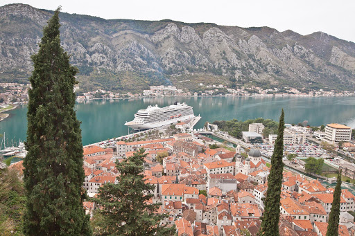 Viking Star docked right at the entrance to Old Kotor, Montenegro.