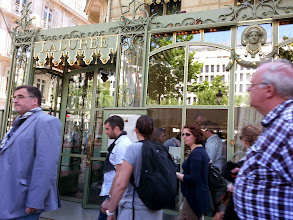 Photo: Laduree's flagship store, with a huge crowd outside