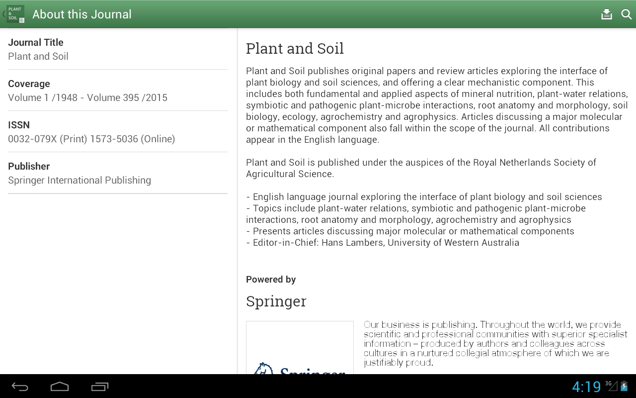 Plant and Soil- screenshot