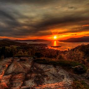 Red dawn by Sondre Gunleiksrud - Landscapes Sunsets & Sunrises ( canon, clouds, hdri, hdr, sunset, cloudscape, seascape, landscape, norway,  )