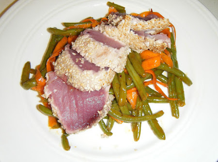 Seared Ahi Over Asian Green Beans and Carrots Recipe