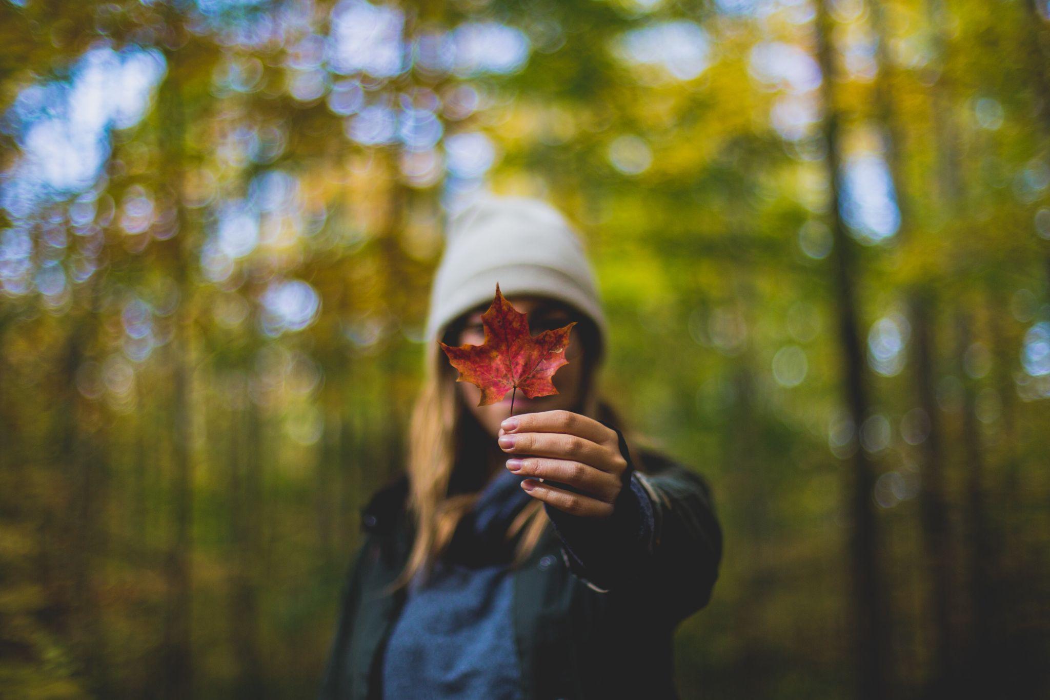 A imagem mostra uma mulher em uma floresta, durante o outono, se vestindo com minimalismo e mostrando uma folha seca para a câmera.