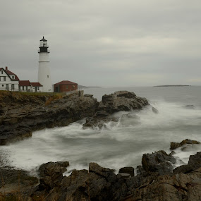 Portland Headlight by Gabrielle Libby - Buildings & Architecture Public & Historical ( water, portland, maine, waves, headlight, lighthouse, house, storm, light )