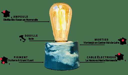 la lampe béton française fabriquée en atelier français fabrication made in France