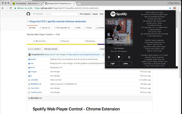 Spotify Web Player Control with Lyrics