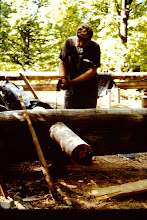 Photo: Fred working on the log.