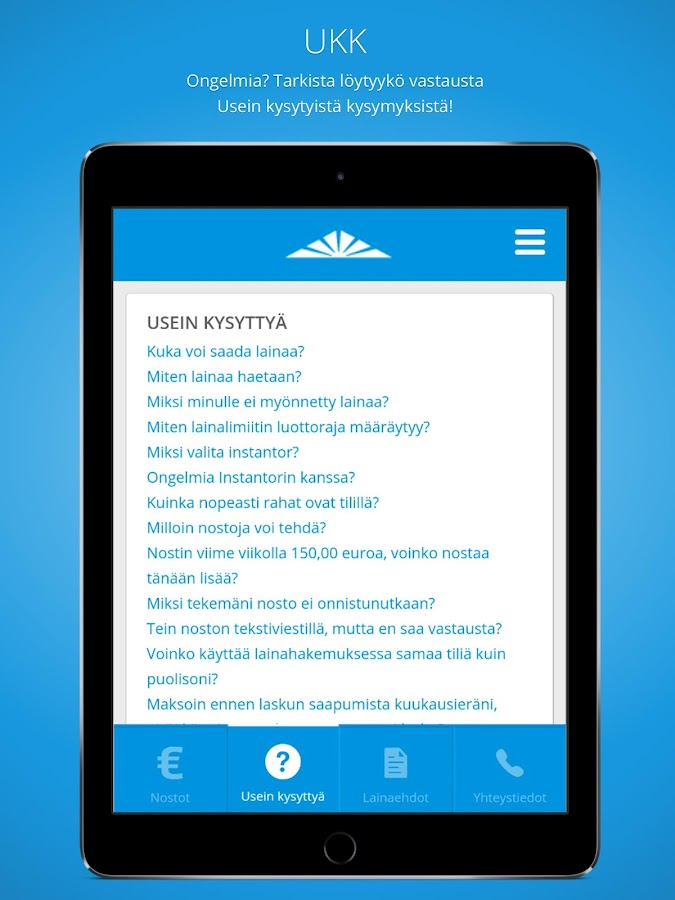 Limiitti.fi tililuotto- screenshot