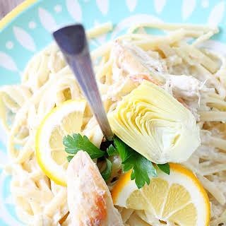 Slow Cooker Creamy Lemon Chicken and Artichoke Pasta.