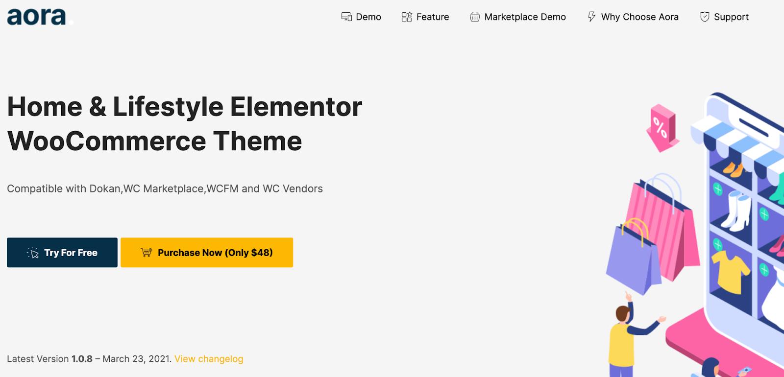 Aora WordPress Marketplace theme homepage featuring the tagline