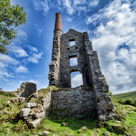 Cornwall (UK) by Gianluca Presto - Buildings & Architecture Decaying & Abandoned ( sky, decaying, old, united kingdom, decay, clouds, ancient, building, cloudy, hill, abandon, ruins, architectural detail, cloud formations, stones, abandoned, ruin, architecture )