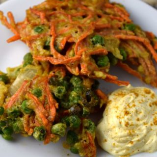 Indian Carrot Pea Pancake with Curry Yogurt Sauce.