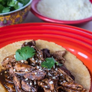 Pressure Cooker Shredded Chicken in Black Mole Sauce